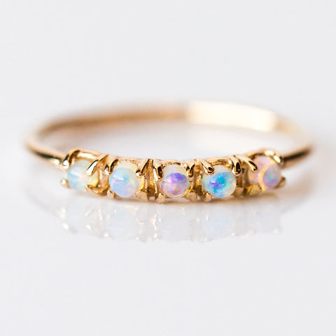 Five Small Round Opal Ring - rings - LUMO local eclectic