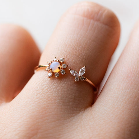 butterfly dream adjustable ring dainty opal cz jewelry