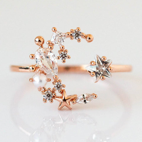 Girls Crew Moon Rose Gold Statement Ring