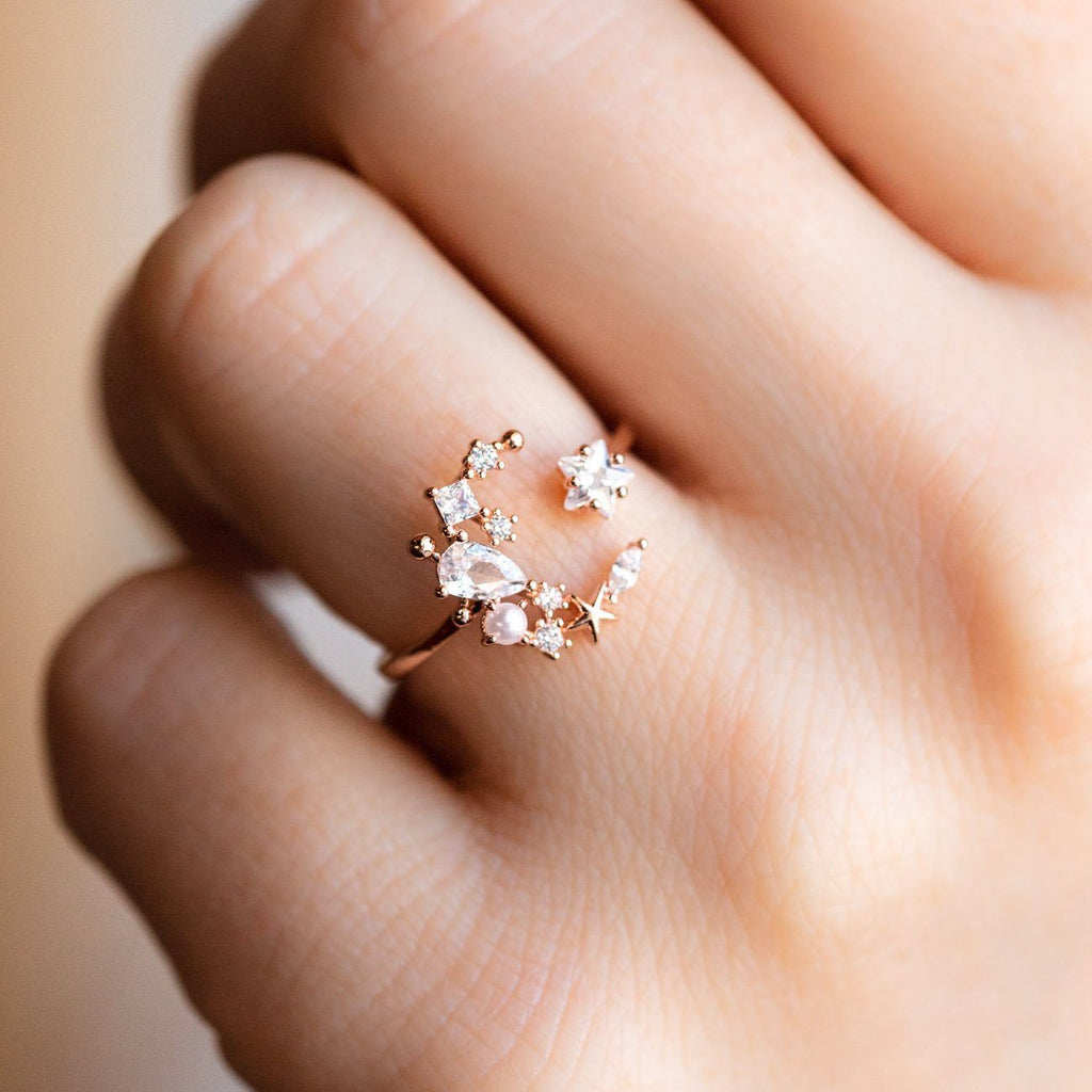 Local Eclectic Girls Crew Crescent Moon Rose Gold Cocktail Ring