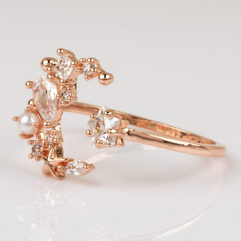 Girls Crew Moon Rose Gold Ring