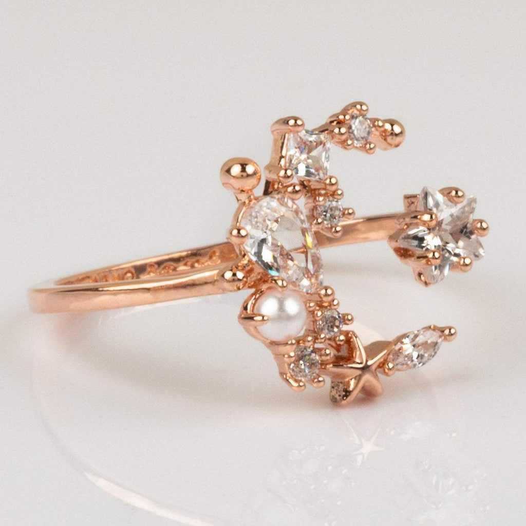 CZ Pearl Moon and Stars Rose Gold Ring