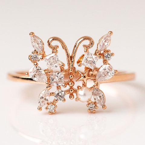 Local Eclectic - 14K Rose Gold Plated Butterfly Ring - Girl's Crew