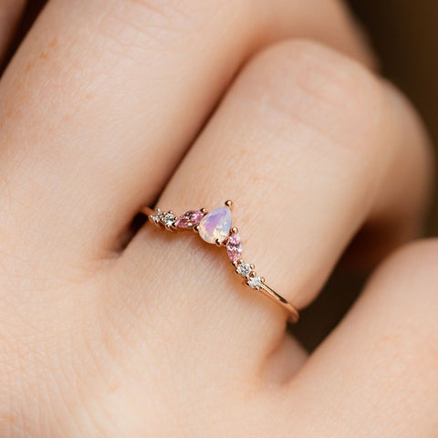 Girls Crew Exclusive Design 18K Rose Gold Pink Opal Stacking Ring