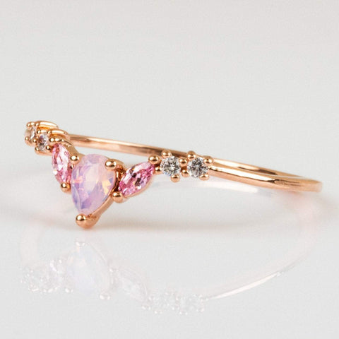 Girls Crew Exclusive Design 18K Rose Gold Pink Opal Dainty Ring