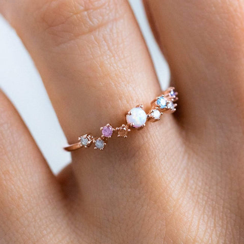 Rose Gold Opal Multi Colored Dainty Ring