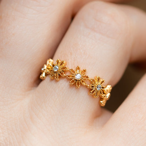 Girls Crew Gold Flower Ring - Local Eclectic