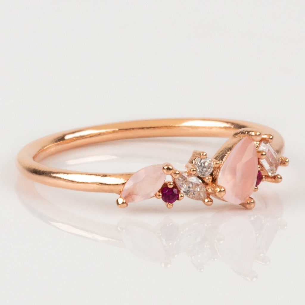 Girls Crew Exclusive Design Dainty Rose Gold Gem Cluster Ring