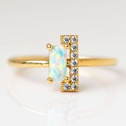 Geo Tower Opal Ring