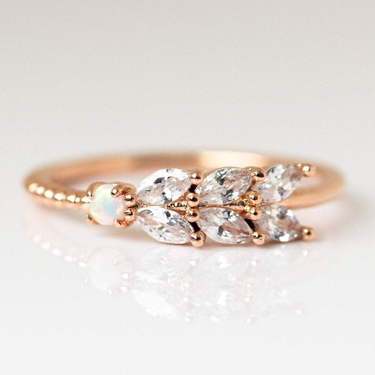 Rose Gold Opal CZ Honey Dew ring