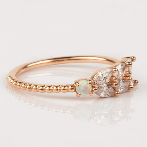 Marquise Cut CZ and Opal Rose Gold Ring
