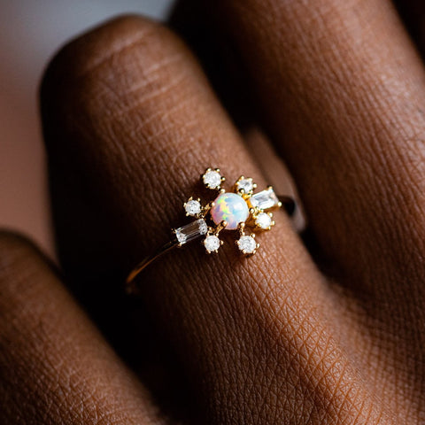 Local Eclectic Snow Bunny Opal and CZ 18K Gold Plated Ring