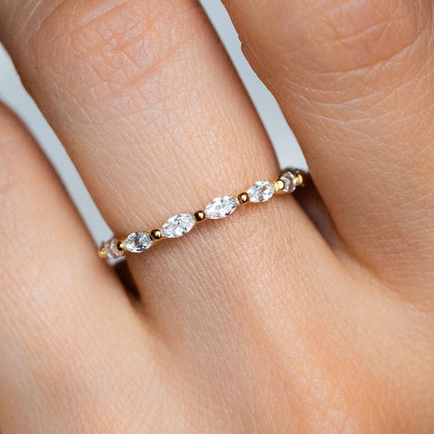 Eternity Stacking Ring Band Marquis Cut CZ Stones Yellow Gold