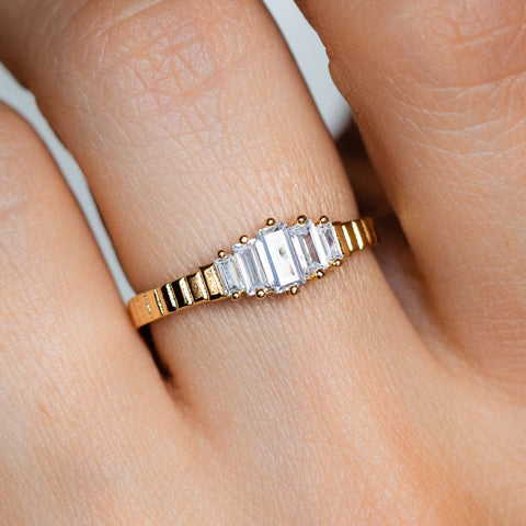 CZ Tapered Baguette Stones Yellow Gold Etched Band