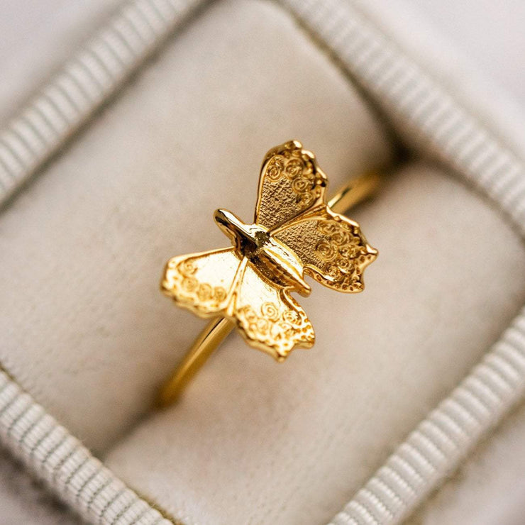 Yellow Gold Butterfly Statement Ring Unique Fun Jewelry