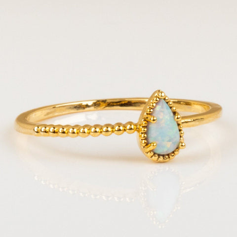 Dragon Egg Opal Ring Dainty Yellow Gold Jewelry