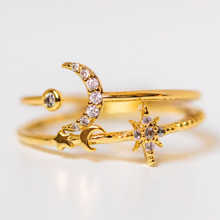 Galactica ring set yellow gold celestial star moon cz dainty ring stack
