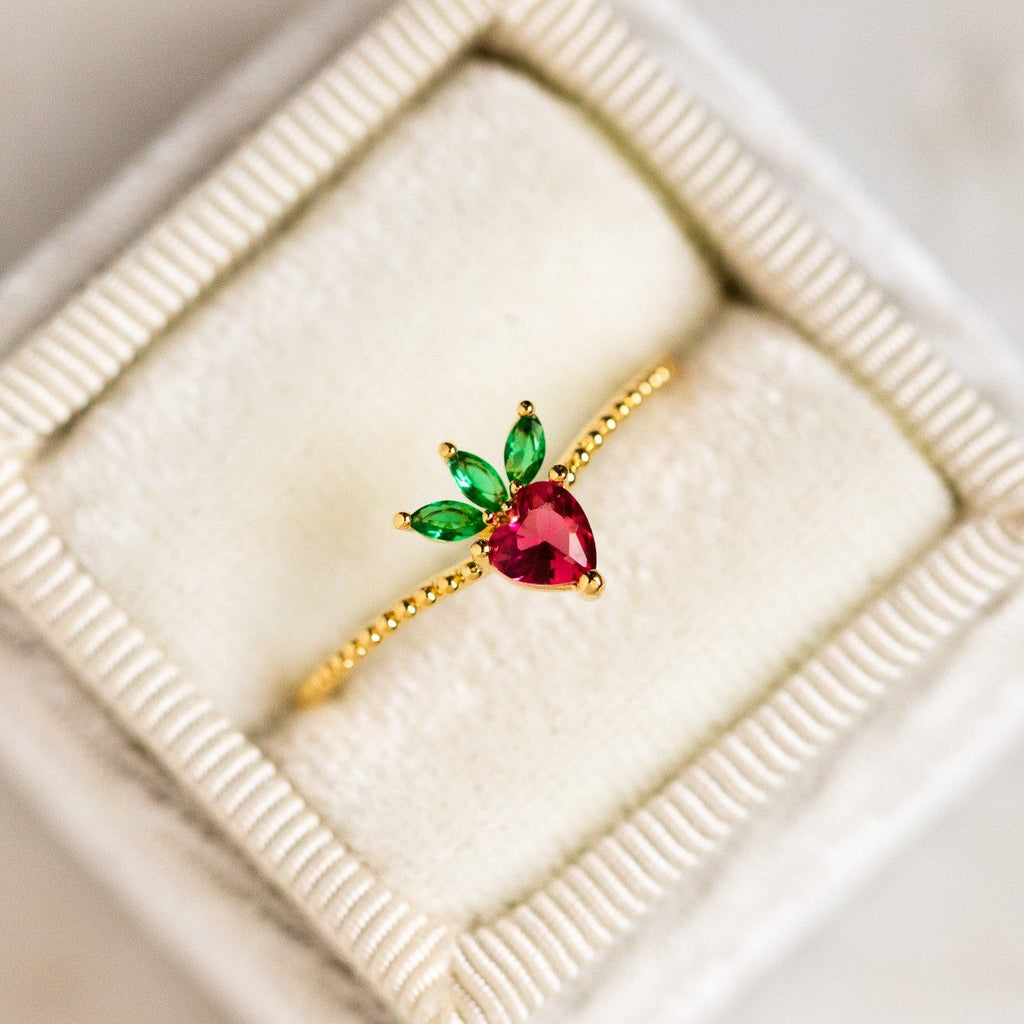 very berry strawberry ring yellow gold fruit jewelry
