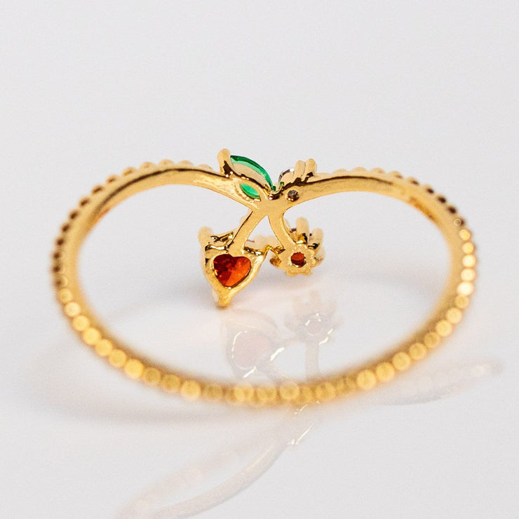 cherry ring dainty yellow gold fruit unique jewelry