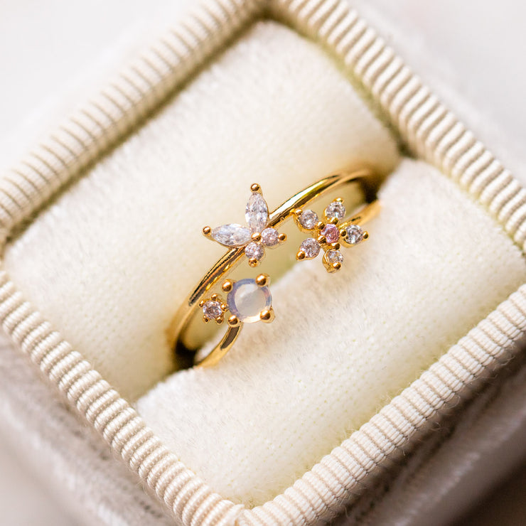 butterfly opal flower yellow gold cz ring stack unique dainty jewelry