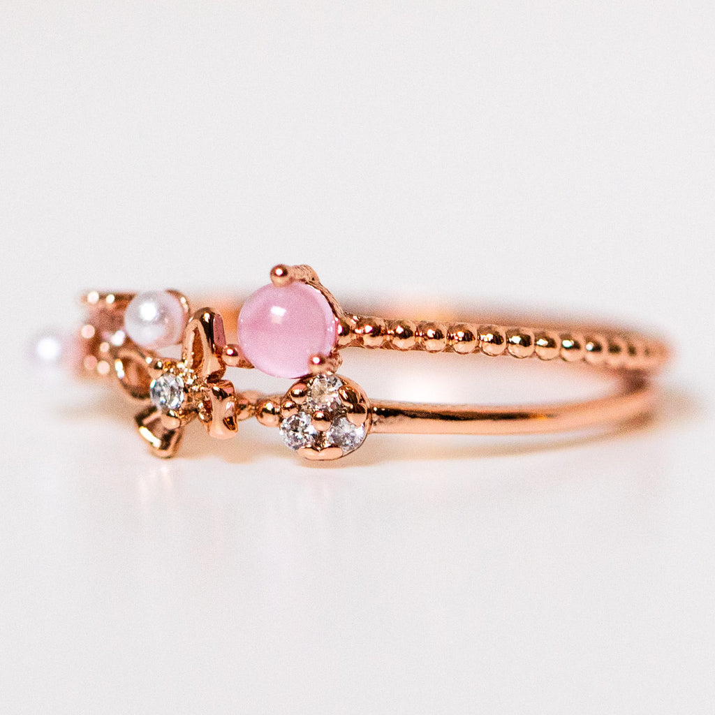 pearly wings butterfly ring stack set rose gold dainty jewelry