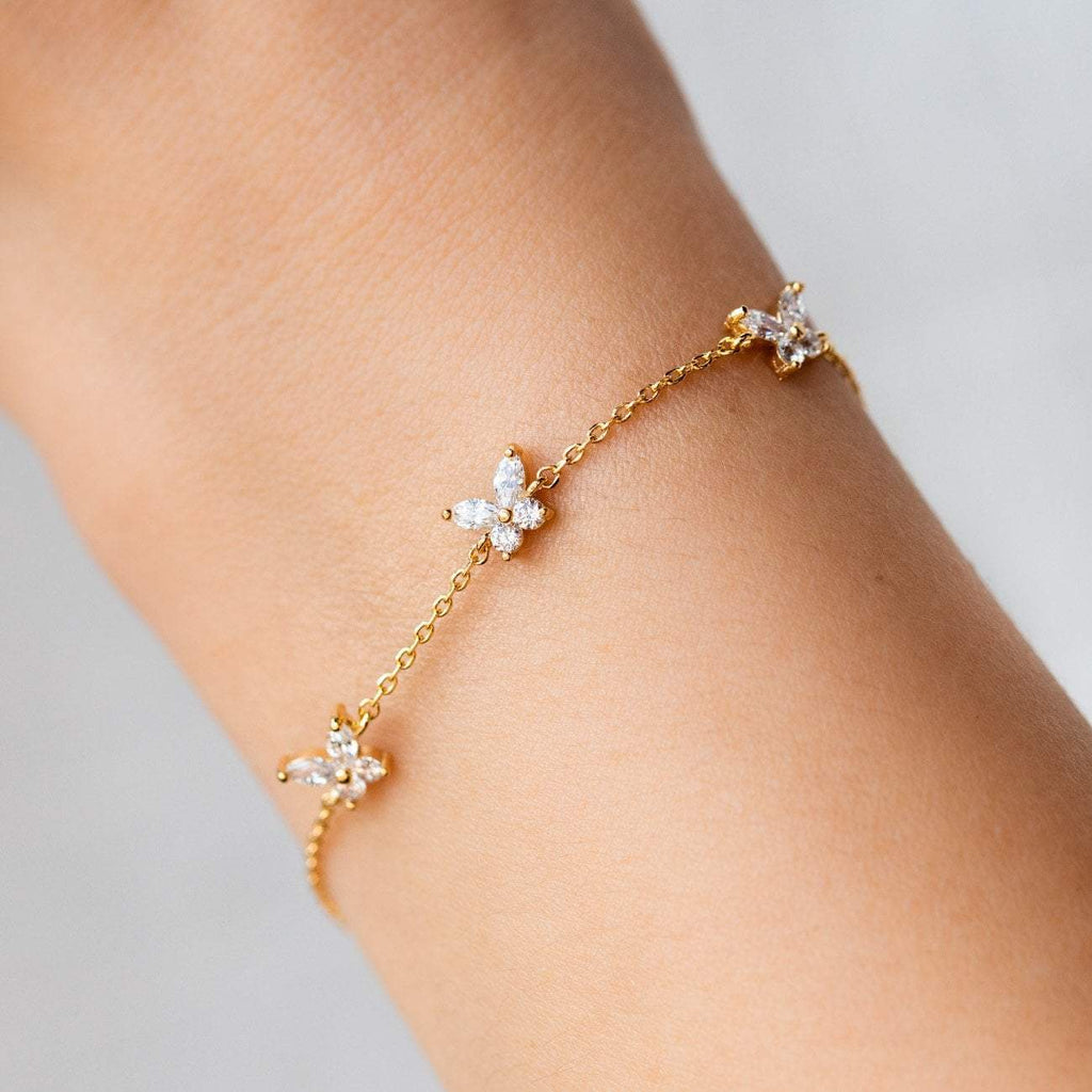 Dainty Adjustable Butterfly Bracelet CZ Yellow Gold