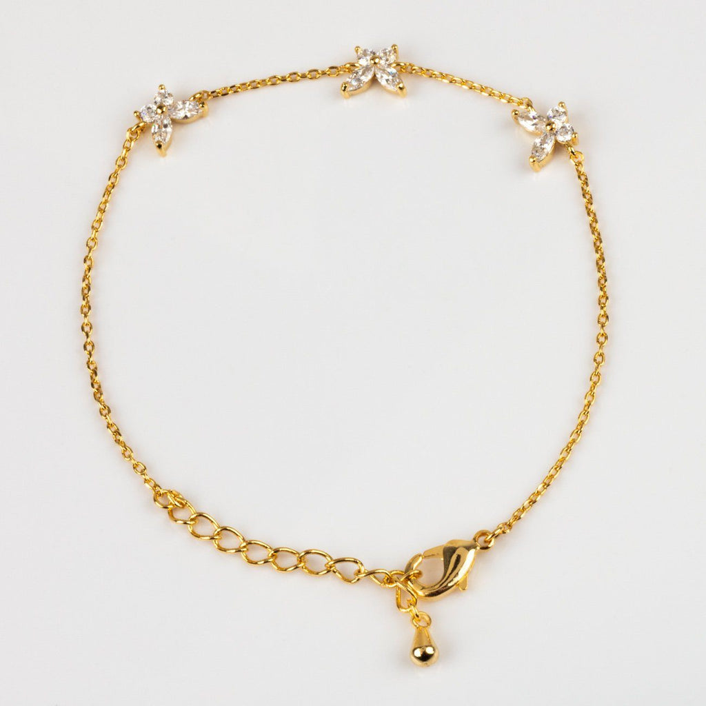 Yellow Gold Butterfly Adjustable Bracelet Girls Crew CZ