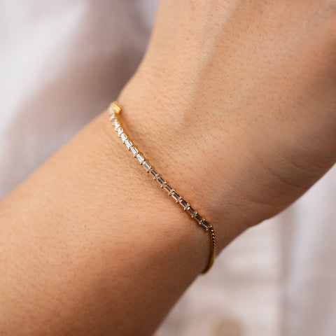 Scarlett Adjustable Baguette CZ Bracelet Yellow Gold