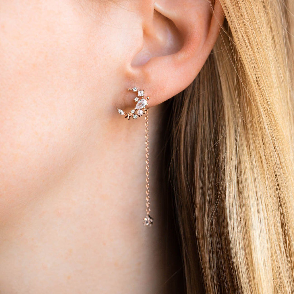 Moonlight Dangle Earrings in Rose Gold