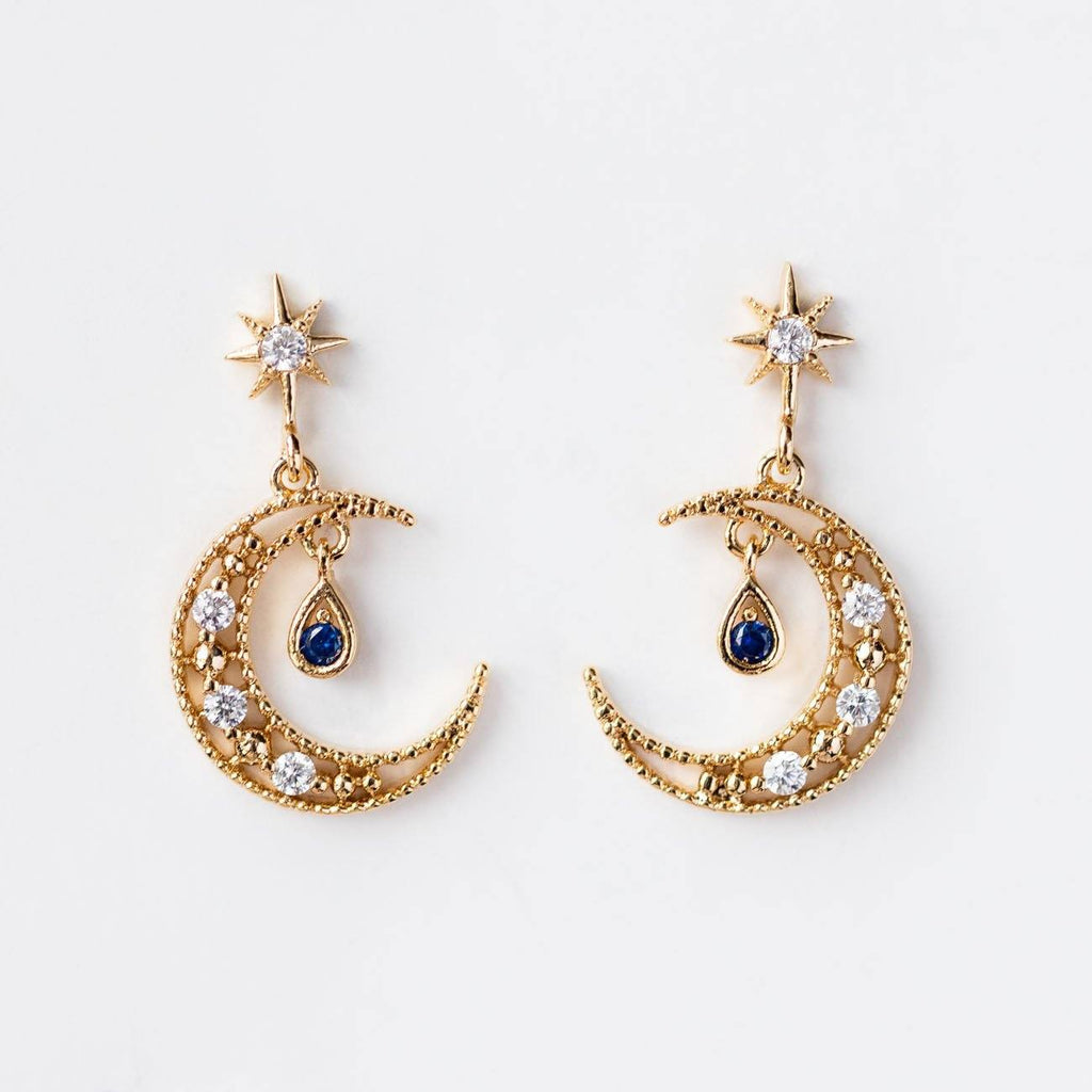 Blue Moon Dangling Gold Earrings