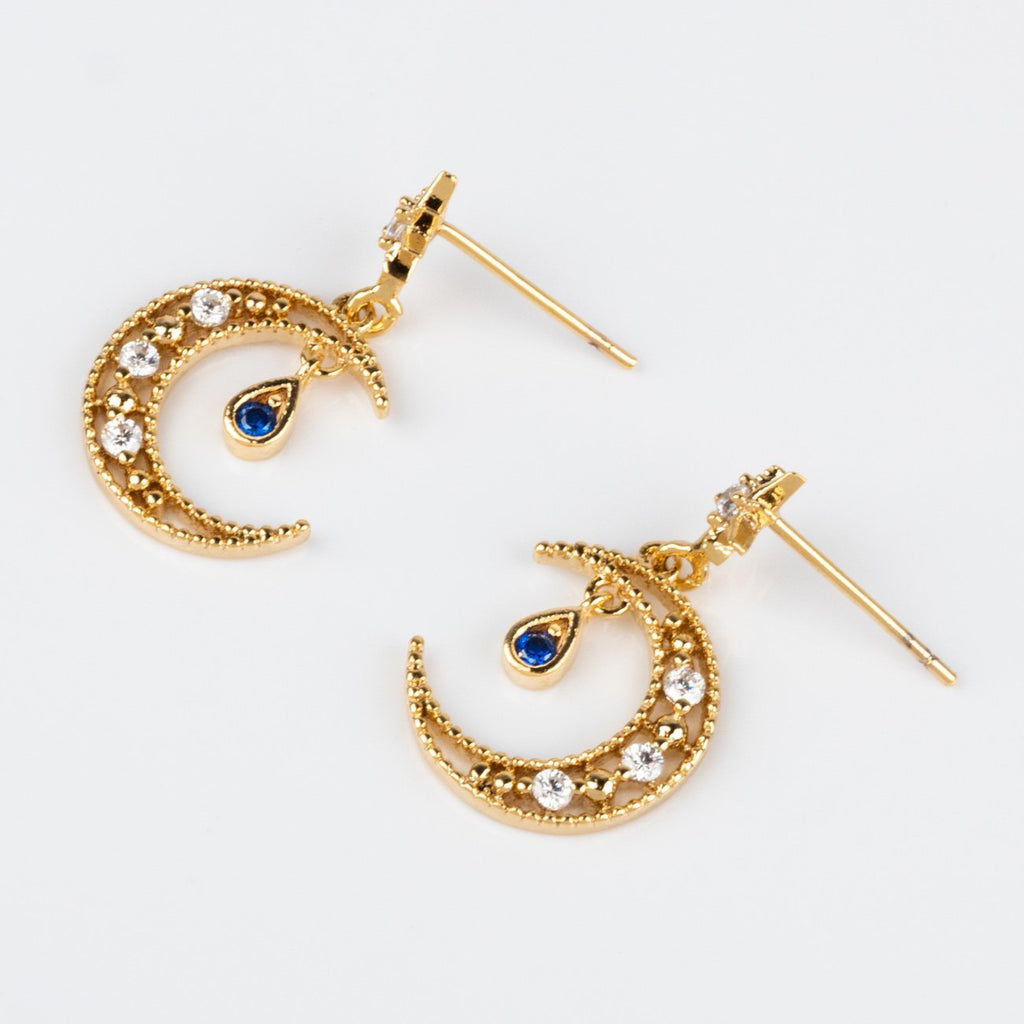 Girls Crew Blue CZ Moon Earrings Dangling Studs