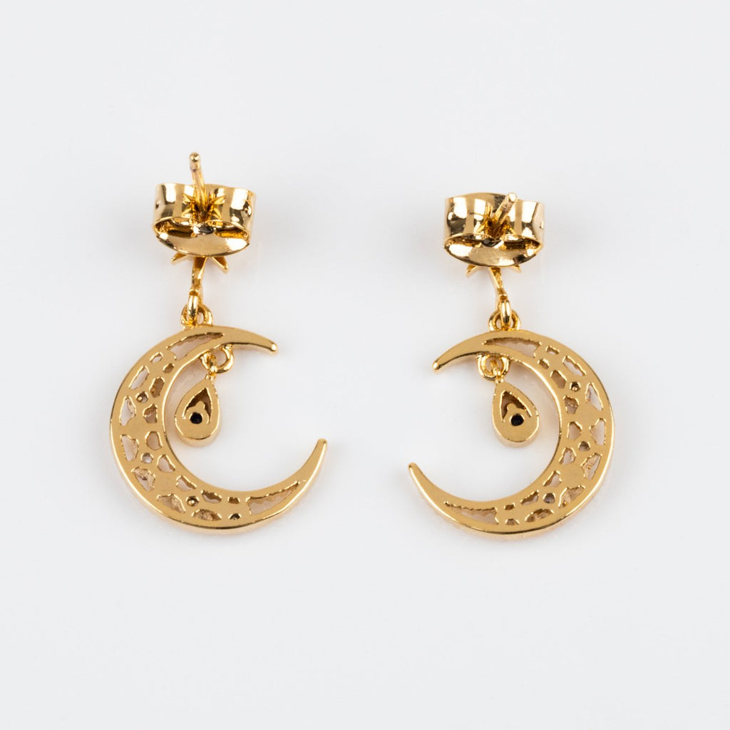 Statement Gold Earrings Moon Dangling