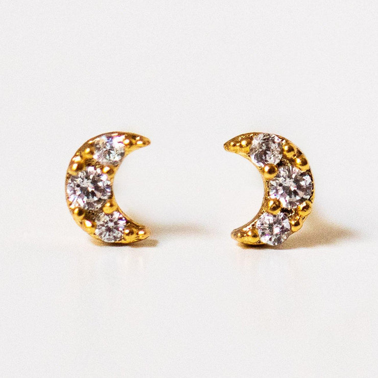 teeny tiny moon stud earrings yellow gold dainty celestial jewelry