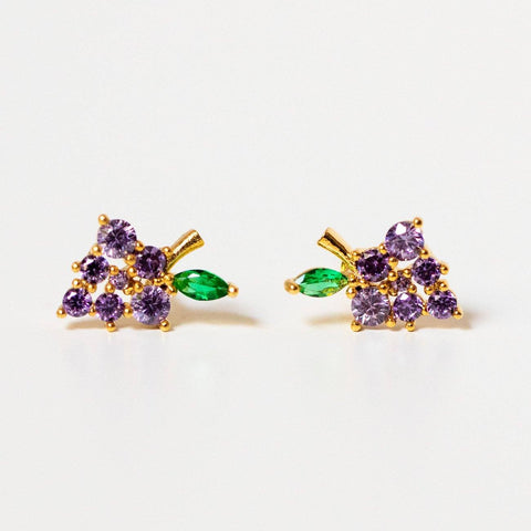 unique dainty grape stud earrings purple fruit jewelry