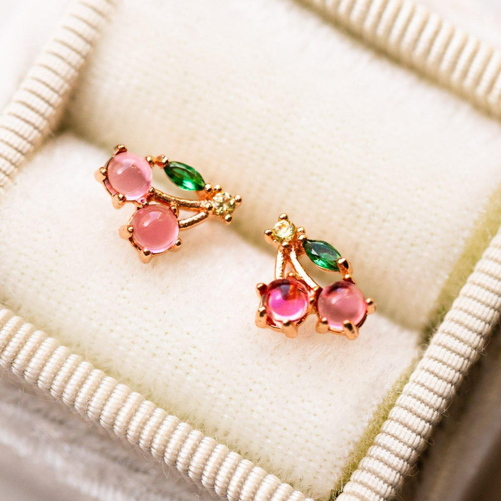 cherry stud earrings unique yellow gold colorful stone dainty fruit jewelry