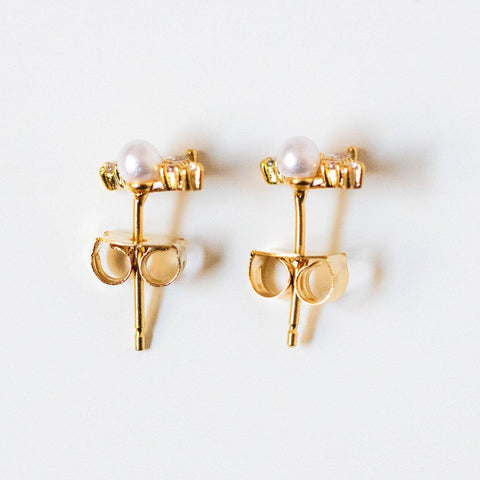 elizabeth pearl stud earrings dainty precious studs