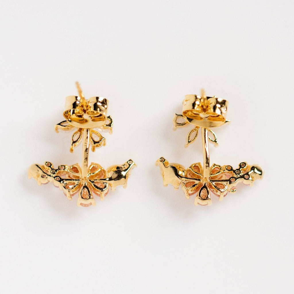 coral floral earrings unique yellow gold flower ear jackets
