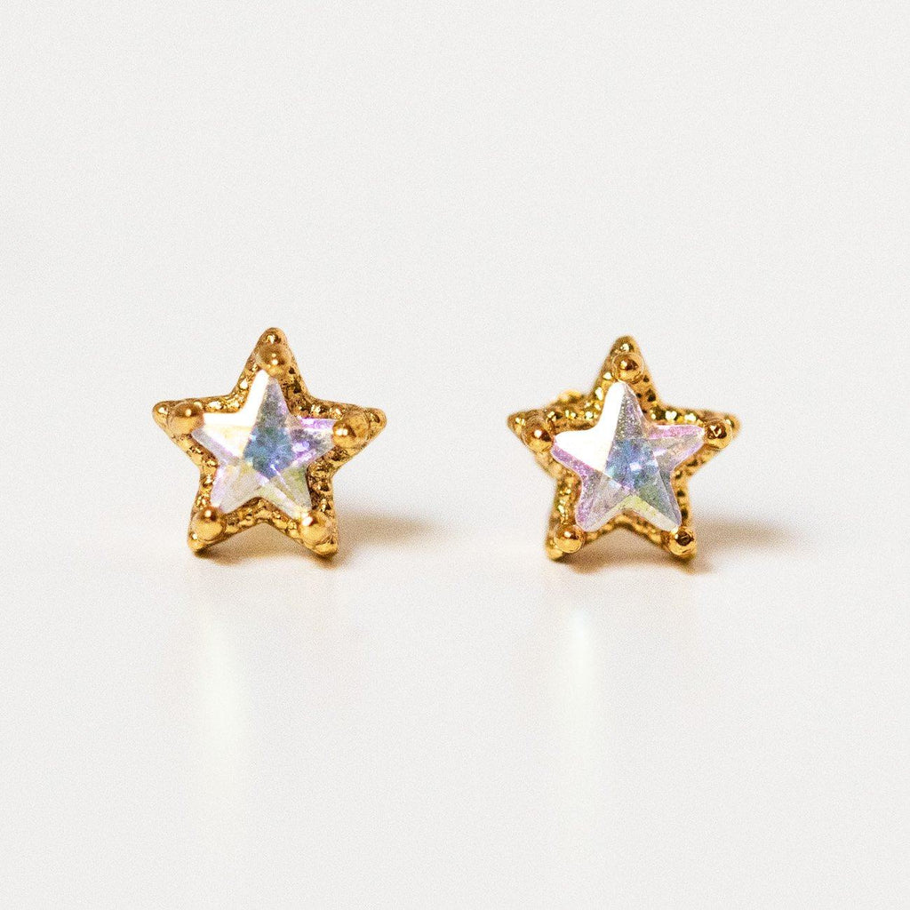 starlight stud earrings unique yellow gold celestial dainty stud jewelry