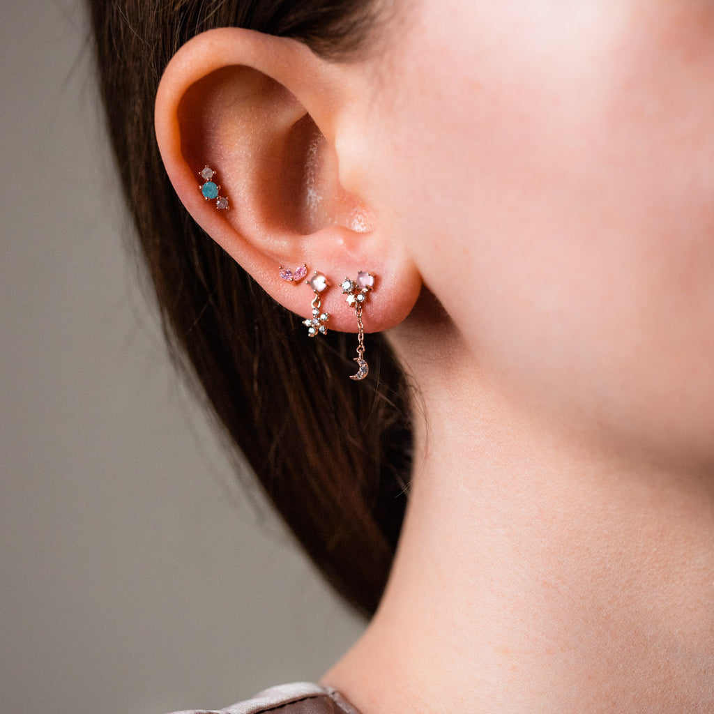 pink paradise earring set unique rose gold stud earring stack