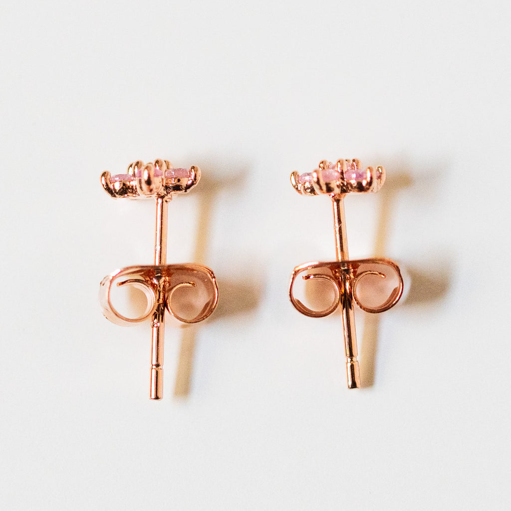 teeny tiny pink flower stud earrings unique dainty jewelry