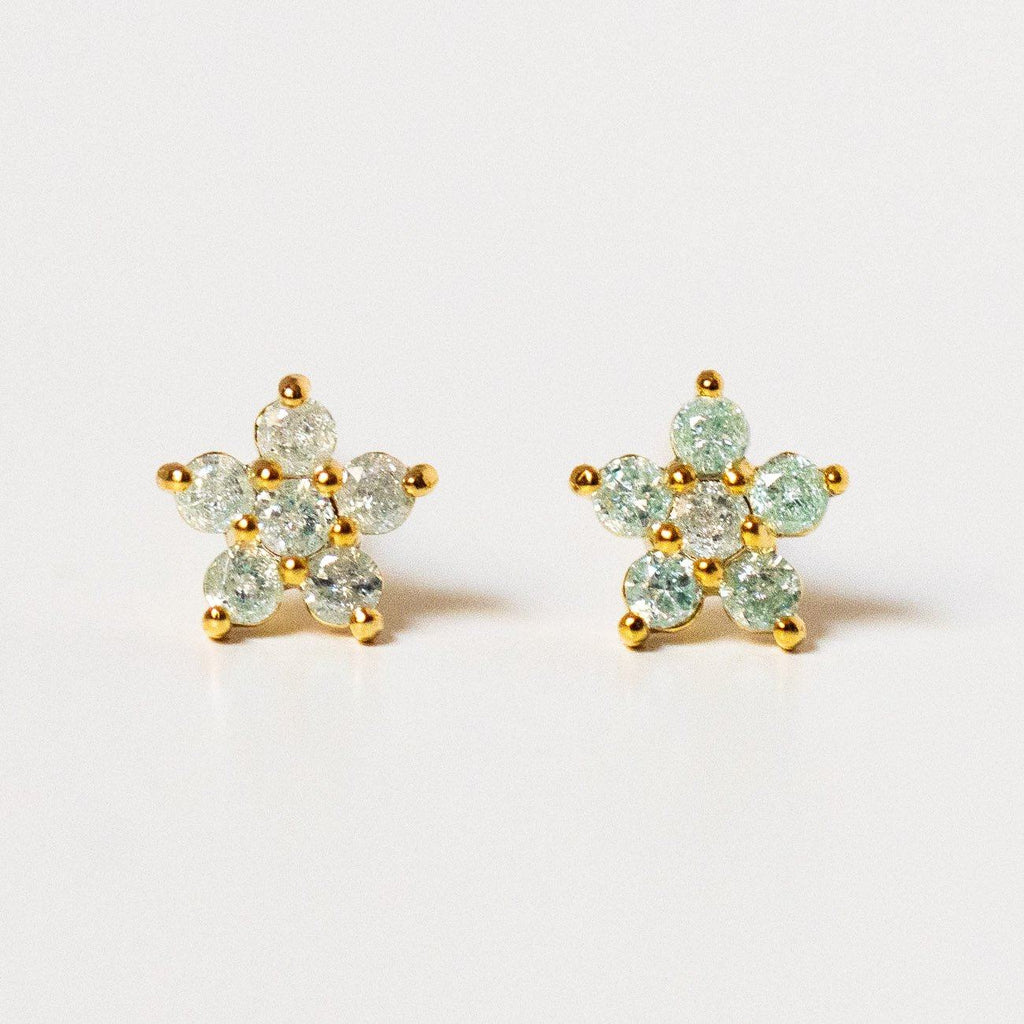teeny tiny mint flower studs unique yellow gold dainty floral jewelry