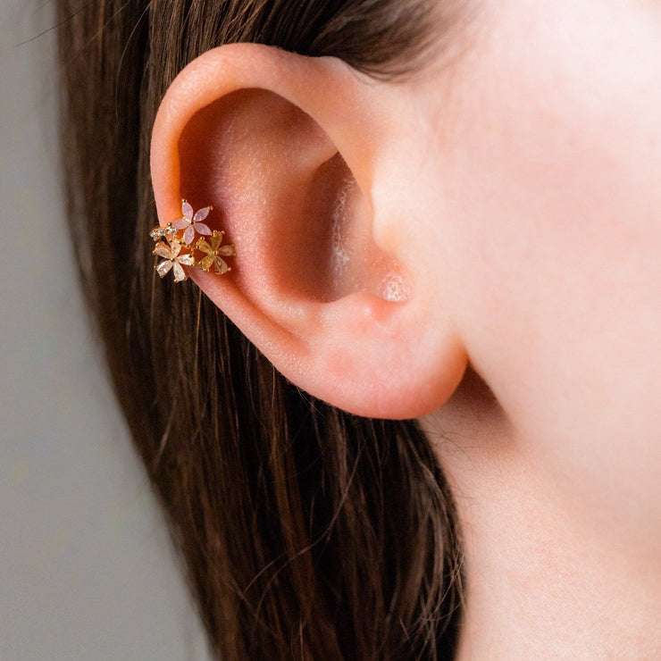 flower bed ear cuff earring unique floral ear jewelry