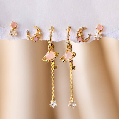 Pink Jupiter Earring Set unique celestial inspired star yellow gold dainty jewelry studs
