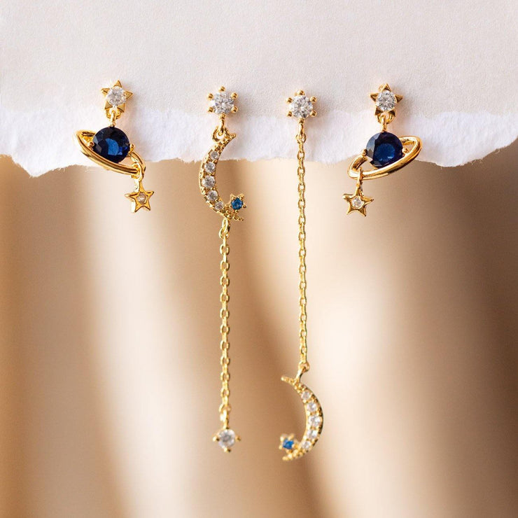 Sapphire Twilight Earring Set unique celestial inspired dainty yellow gold studs