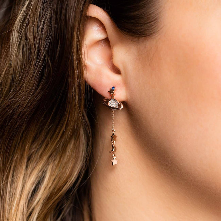 Girls Crew Rose Gold Galaxy Dangling Earrings
