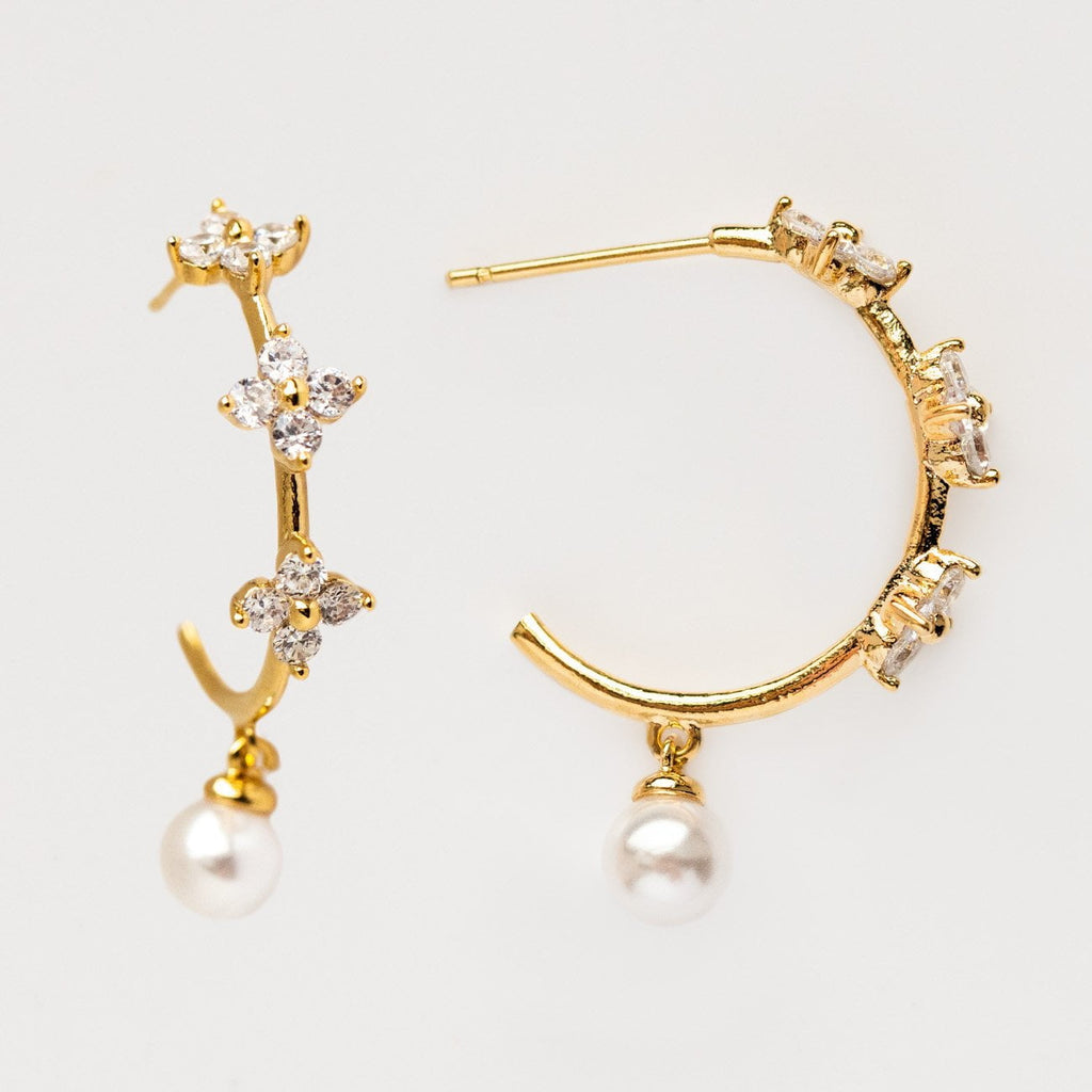 Local Eclectic - 18K Yellow Gold Camellia Pearl Hoops - Girl's Crew