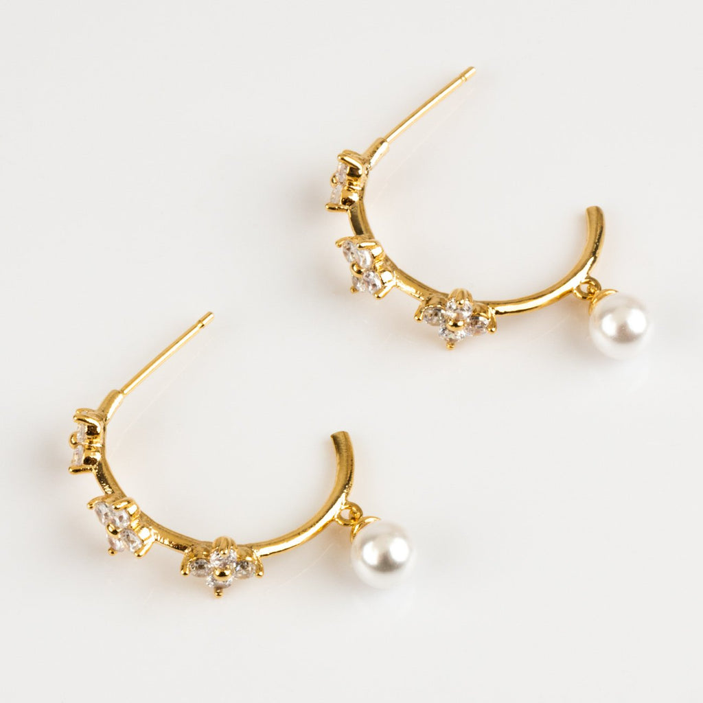 Local Eclectic - 18K Yellow Gold Camellia Pearl and CZ Hoops - Girl's Crew