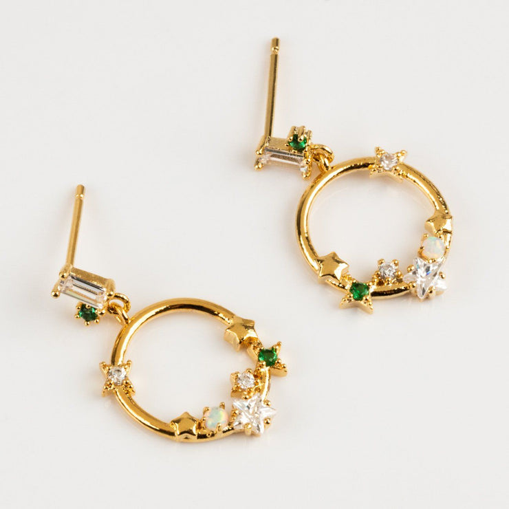 Local Eclectic - 18K Gold Plated Midsummer Star Emerald Hoop Earrings - Girls Crew