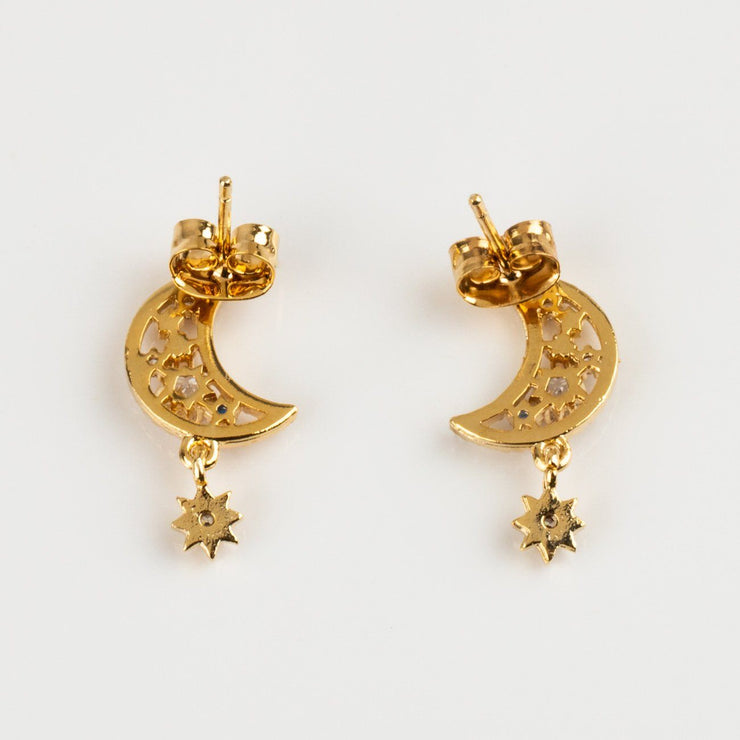 Local Eclectic Luna Crescent Moon CZ and Opal 18K Yellow Gold Plated Earrings