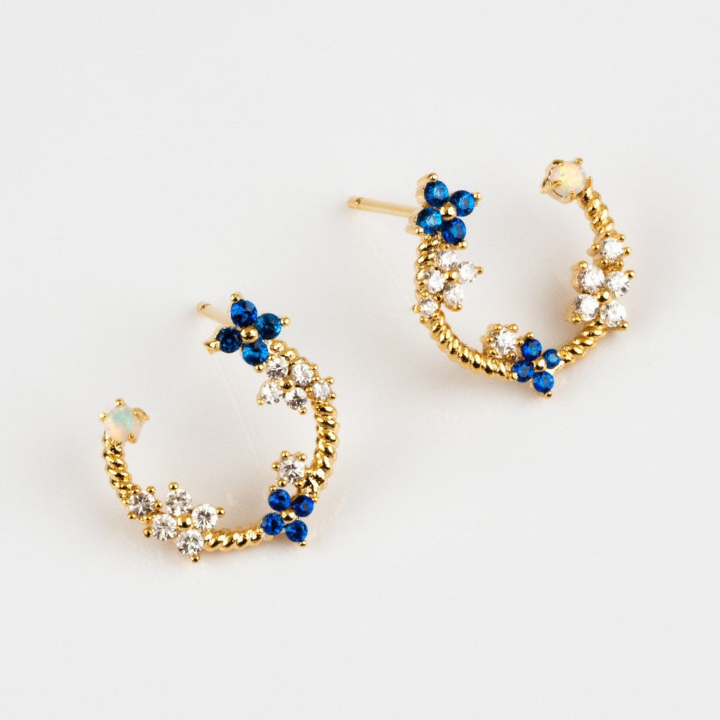 Local Eclectic Fleurette Floral Gemstone 18K Gold Plated Earrings